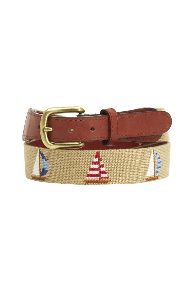 Sailboats Khaki & Chestnut Needlepoint Belt
