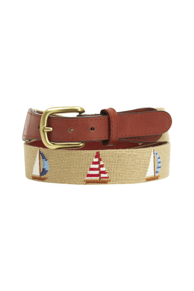 Smathers & Branson - Sailboats Khaki & Chestnut Needlepoint Belt