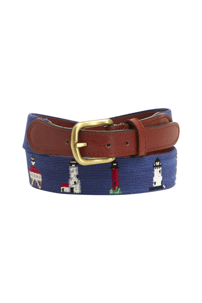 Smathers & Branson - Lighthouse Navy Blue & Chestnut Needlepoint Belt