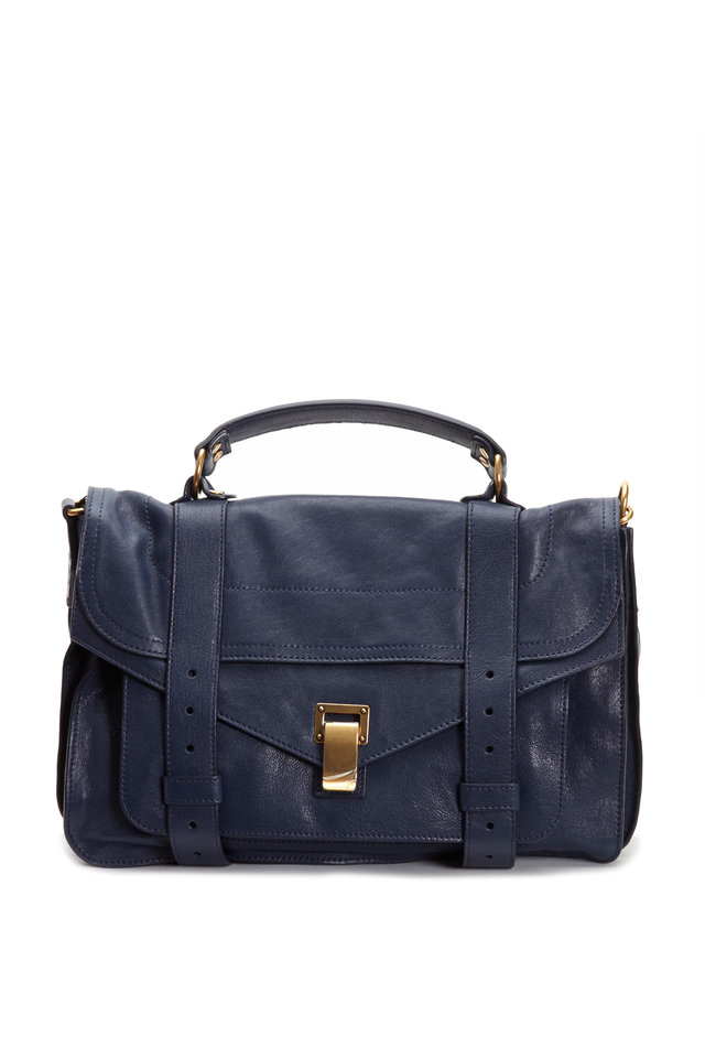 Blue Leather Medium Flap Satchel