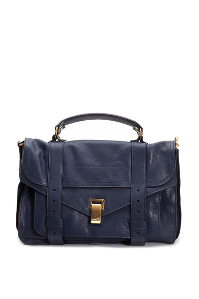 Proenza Schouler - Blue Leather Medium Flap Satchel