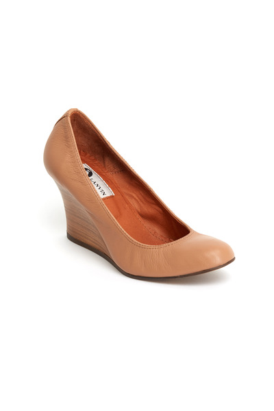 Lanvin - Beige Leather Ballerina Stacked Wedges