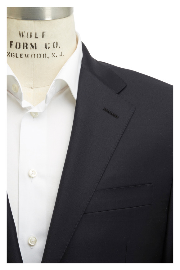 Hickey Freeman Navy Blue Worsted Wool Suit
