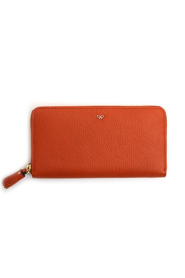 Orange Leather Tassle Zip Wallet