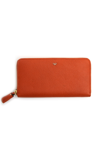 Anya Hindmarch - Orange Leather Tassle Zip Wallet