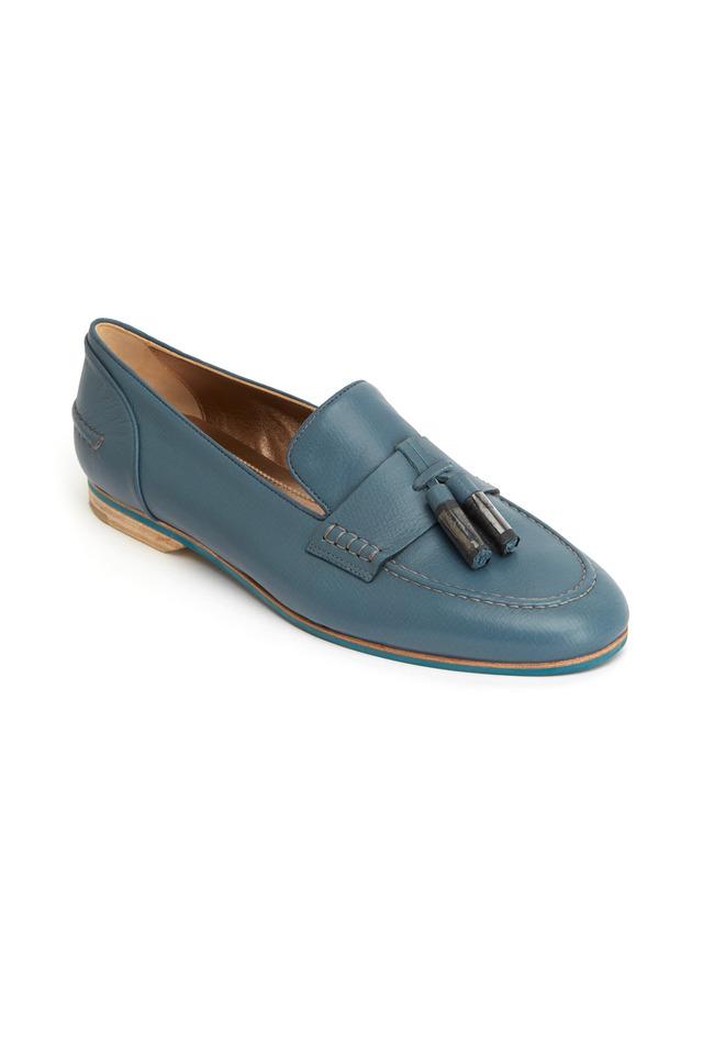 Blue Leather Tassel Loafers