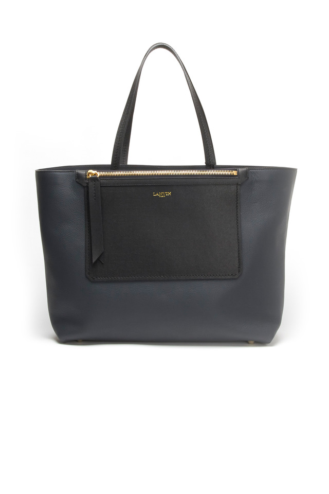 Blue Grey East West Leather Tote