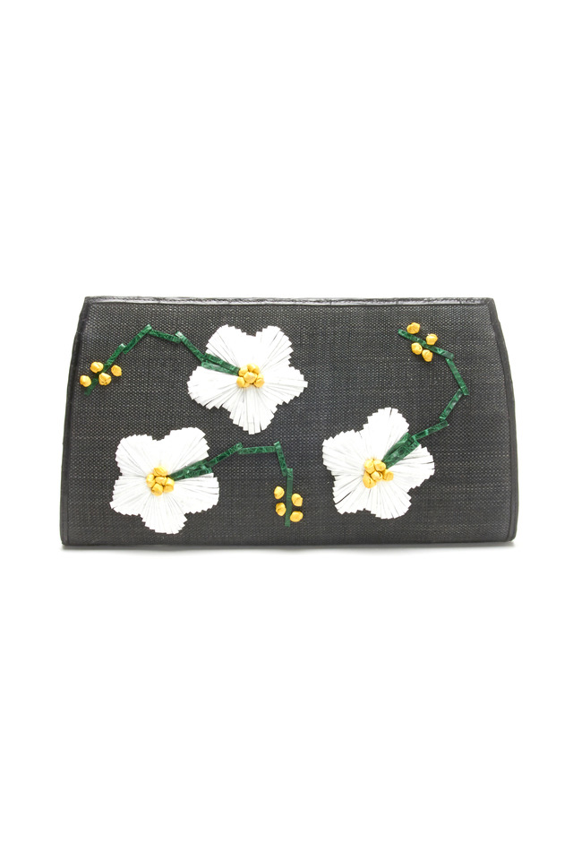 Flower Embroidered Black Crocodile Clutch