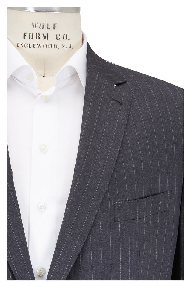 Charcoal Gray Striped Worsted Wool Suit