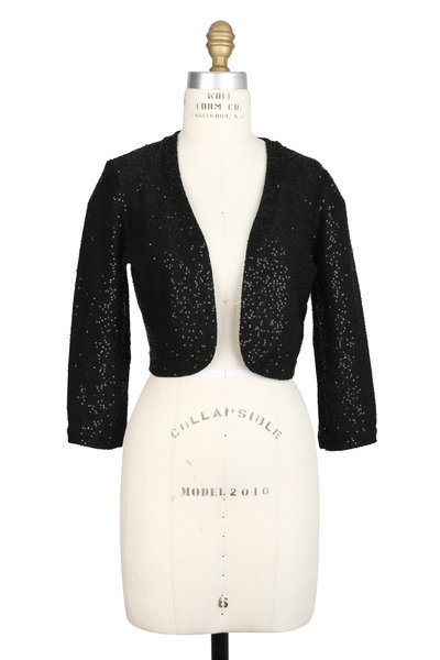 Oscar de la Renta - Black Silk Blend Sequin Shrug