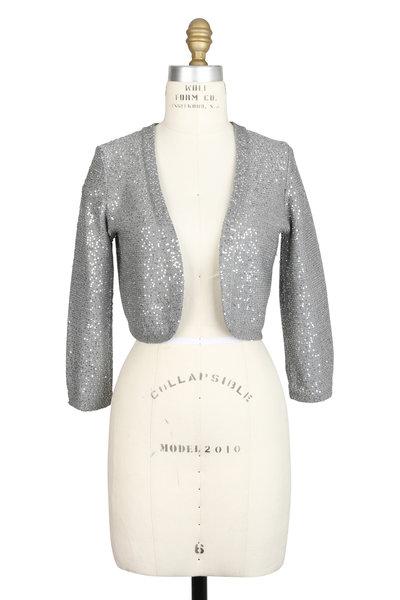 Oscar de la Renta - Silver Silk Blend Sequin Shrug