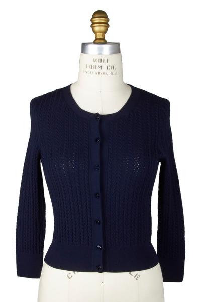 Oscar de la Renta - Navy Blue Wool Cardigan
