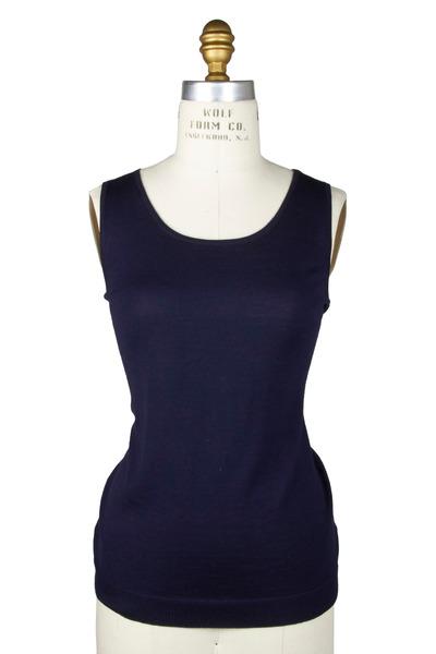 Kinross - Navy Blue Wool & Silk Tank Top