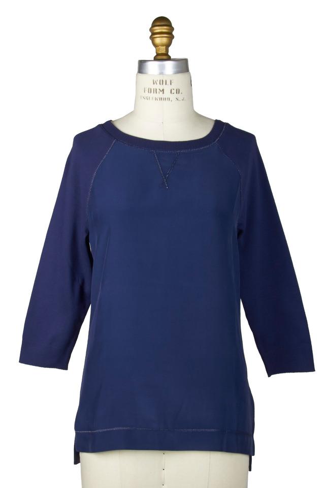 Elle Navy Blue Silk Sweater
