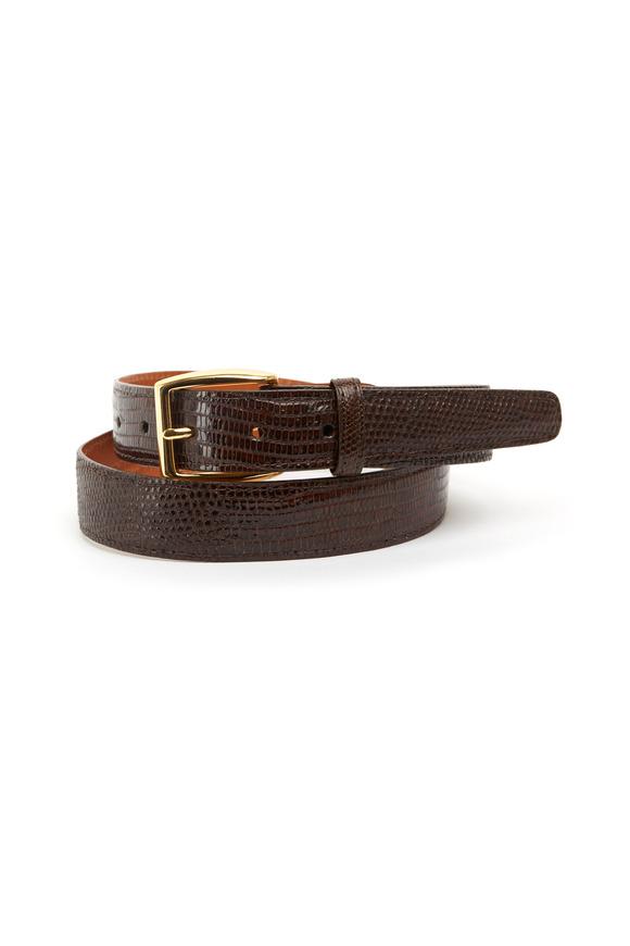 Trafalgar Windsor Dark Brown Lizard Belt