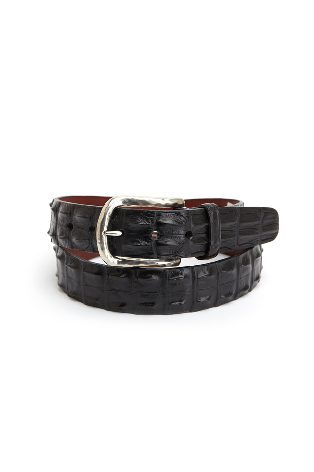 Black Hornback Crocodile Belt