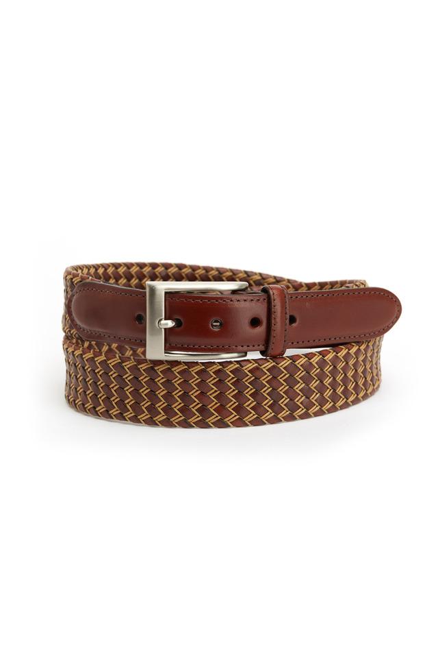 Cognac & Natural Leather Belt