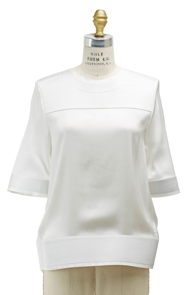 Ivy Hip Band Elbow Sleeve Blouse