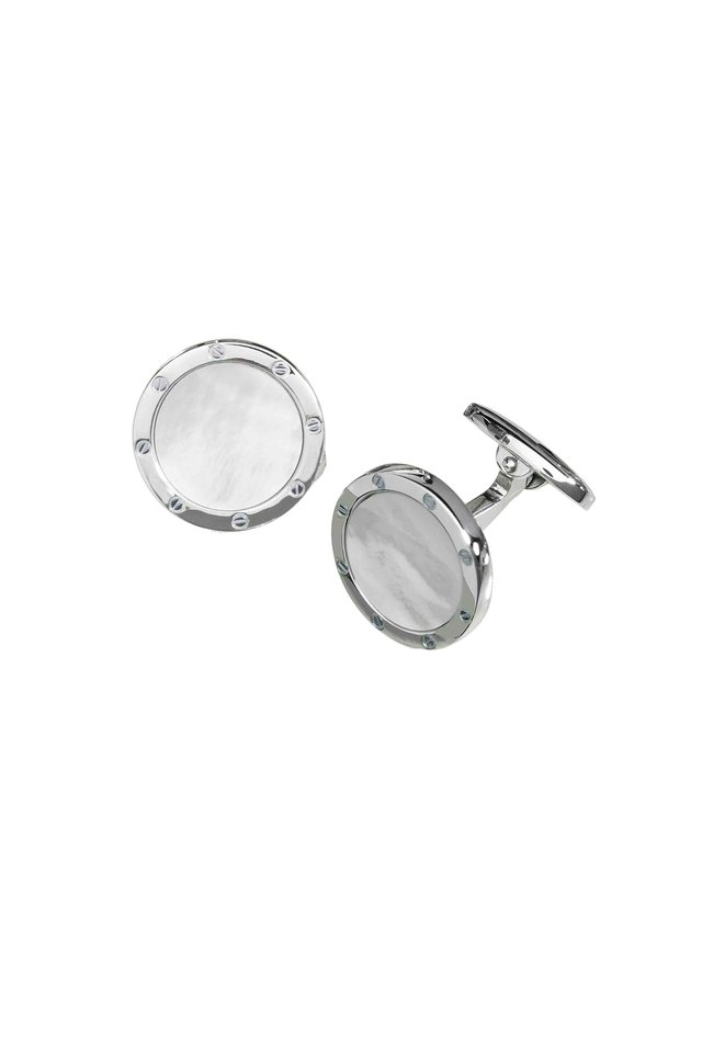 Sterling Silver Pearl Cuff Links
