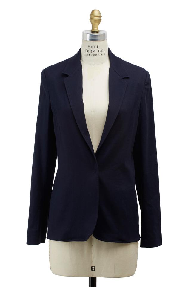 Navy Blue Linen & Viscose Jacket