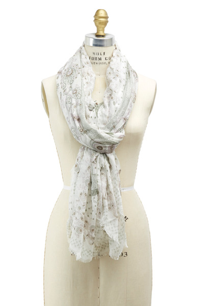 Gucci - Everil Ivory & Khaki Silk Stole