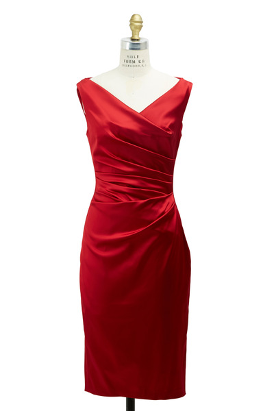 Talbot Runhof - Scarlet Satin Dress