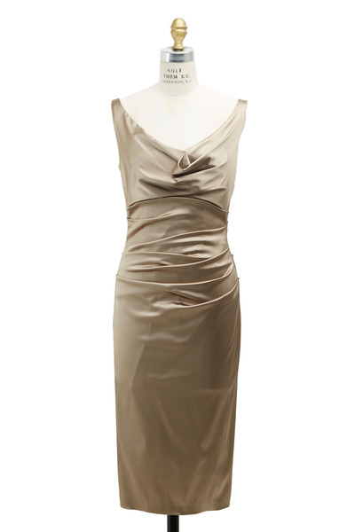 Talbot Runhof - Gold Satin Dress