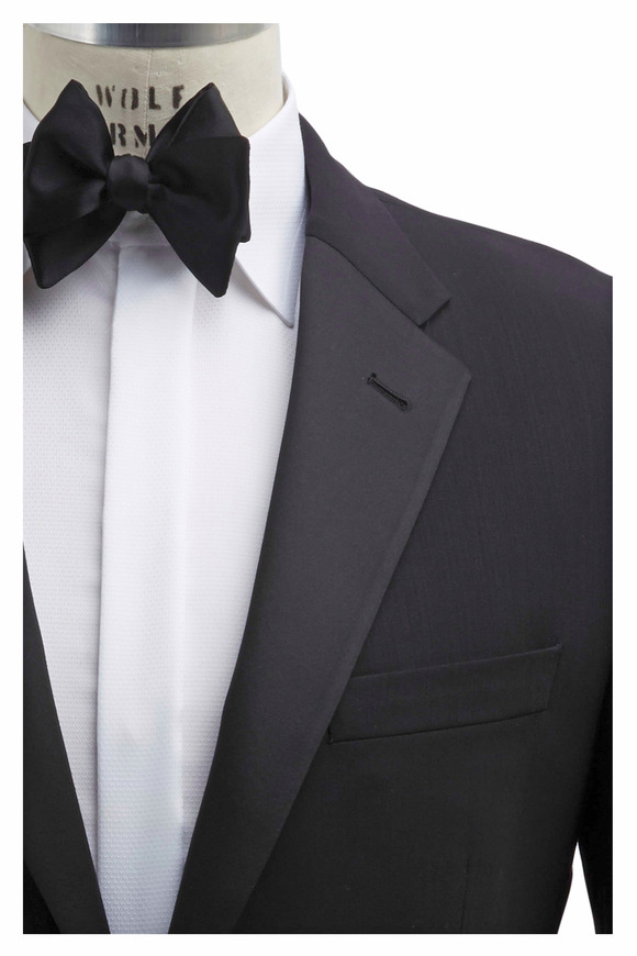 Coppley Black Worsted Wool Flat Front Tuxedo