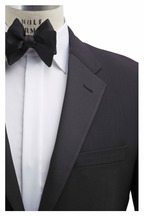 Coppley - Black Worsted Wool Flat Front Tuxedo