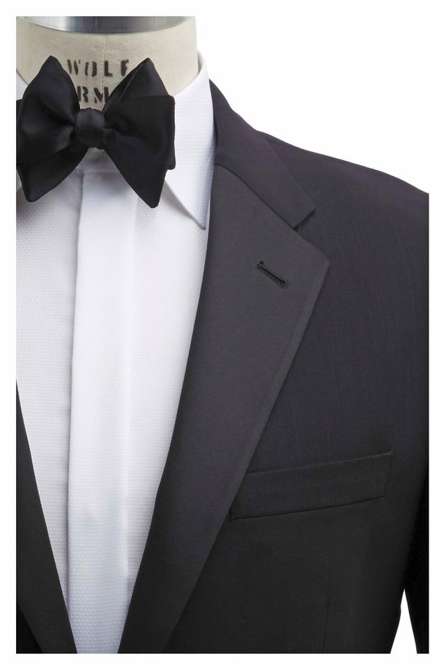 Black Worsted Wool Flat Front Tuxedo