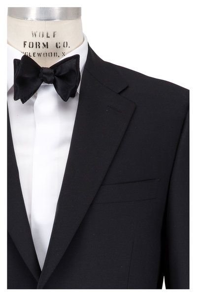 Canali - Black Worsted Wool Flat Front Tuxedo