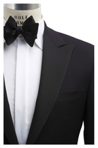 Samuelsohn - Black 150's Worsted Wool Peak Lapel Tuxedo