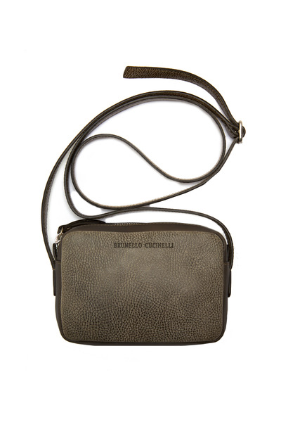 Brunello Cucinelli - Taupe Distressed Leather Mini Crossbody Bag