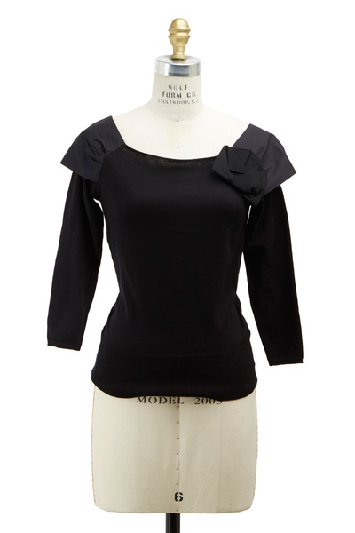 Paule Ka - Black Cotton Rouched Shoulder Sweater