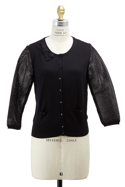 Paule Ka - Black Silk Stretch Cardigan