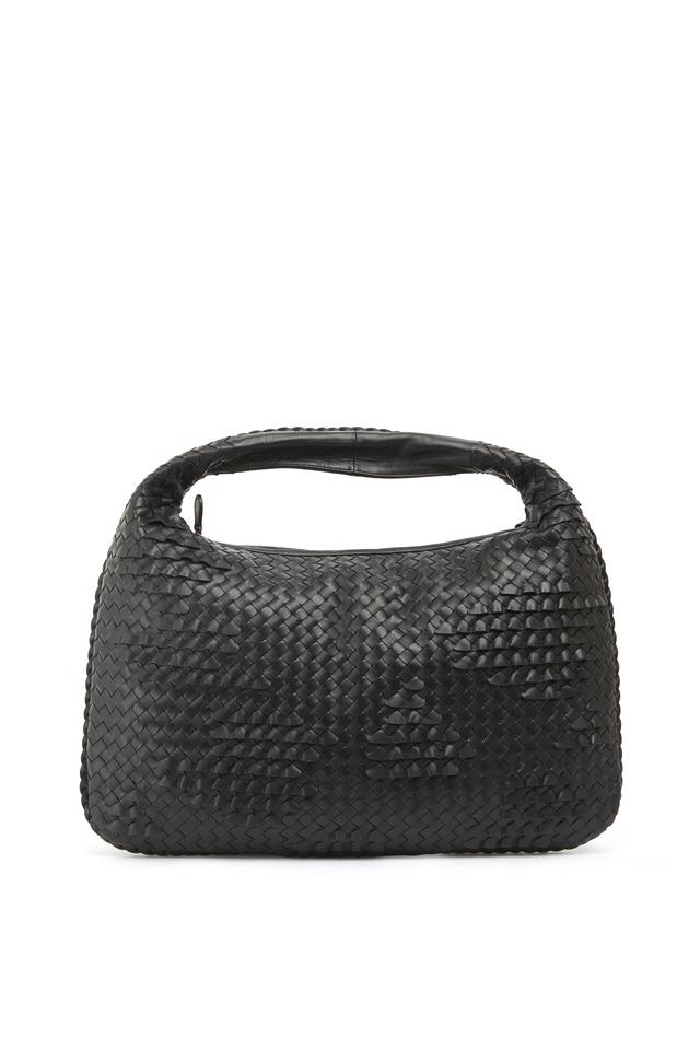 Veneta Black Intrecciato Leather Large Hobo