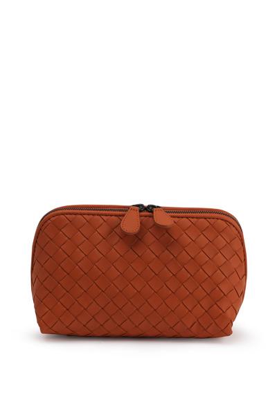 Bottega Veneta - Orange Intrecciato Leather Cosmetic Case