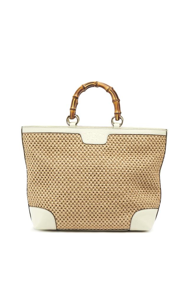 Natural  & White Straw Mesh Bamboo Shopper Handbag