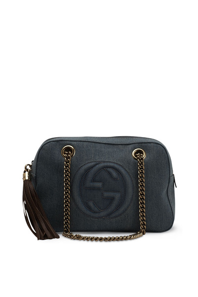 Gucci - Soho Dark Denim Double Chain Shoulder Bag