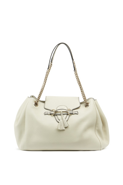 Gucci - White Leather Flap Metal Buckle Shoulder Handbag