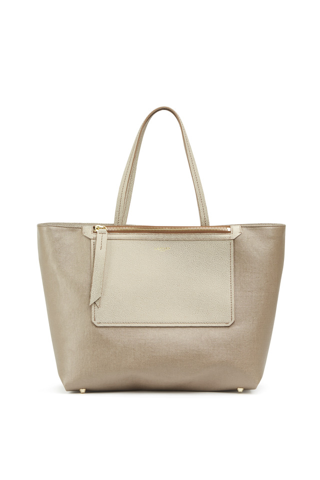 New Easy Gold Laminated Canvas Tote