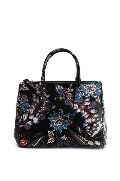 Prada - Galleria Black Floral Leather Satchel