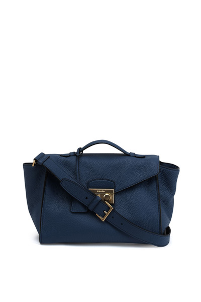 Prada - Cobalt Daino Leather Twin Pocket Satchel
