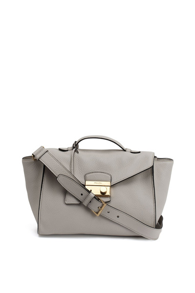 Prada - Chalk Leather Flap Shoulder Bag