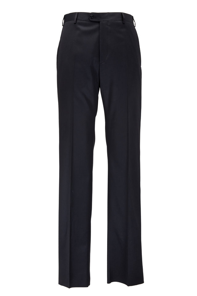 Todd Black Worsted Wool Pant