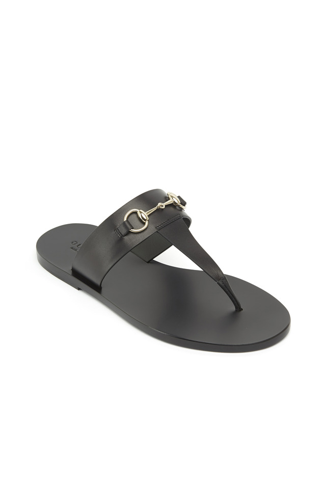 Marcy Black Leather Thong Sandals