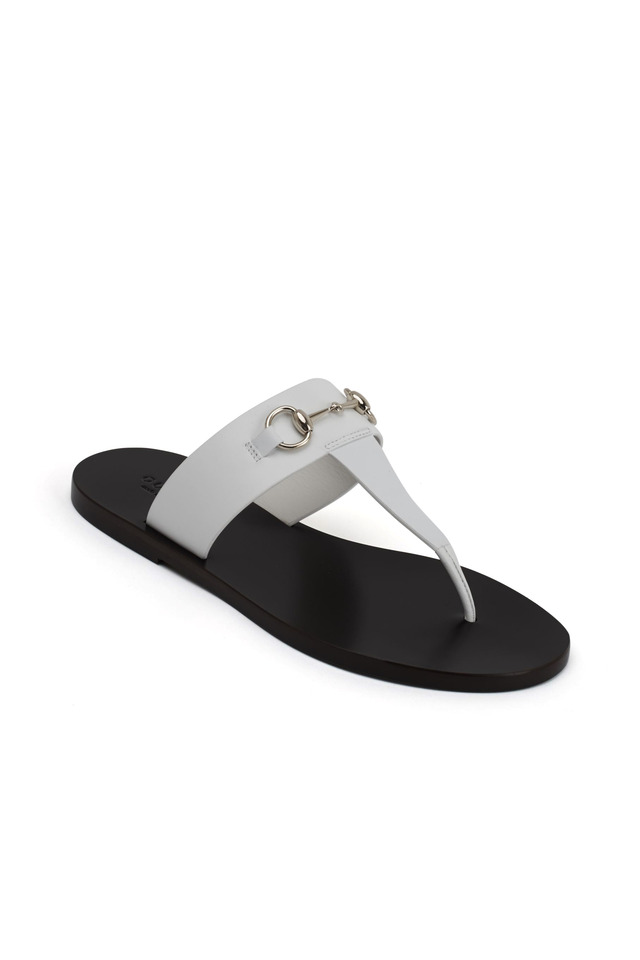 Marcy White Leather Thong Sandals