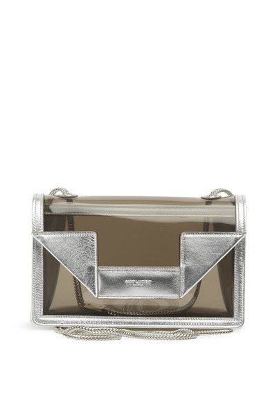 Saint Laurent - Betty Fume & Argento Vinyl Mini Chain Handbag