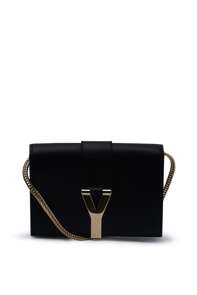 Ligne Y Black Leather Noir Cuir Gras Satchel