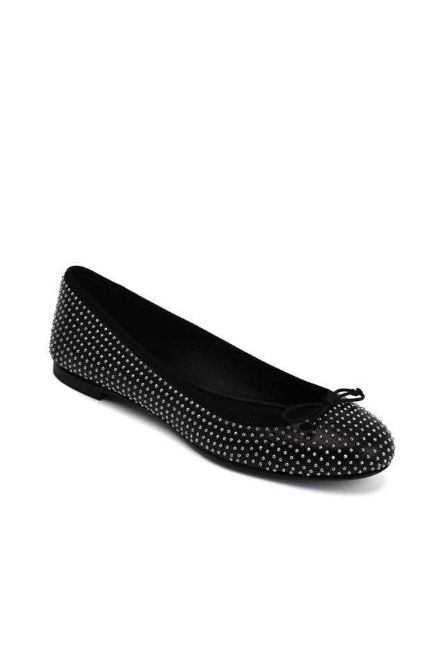 Dance Black Studded Leather Ballet Flats